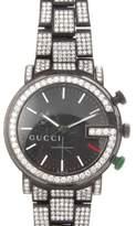 Gucci Chrono G Black Stainless Steel & Diamonds Bezel Mens Watch