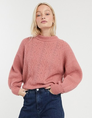 Monki pointelle knit jumper in pink