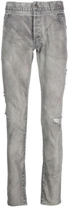 Balmain Grey Destroyed Denim Jeans