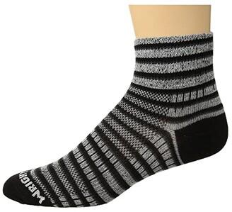 Wrightsock Coolmesh II Quarter Stripes (Black/White/Grey) Quarter Length Socks Shoes