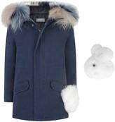 Yves Salomon Navy Cotton Parka With Fur Trim Hood