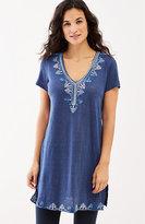 J. Jill Embroidered Linen-Knit Tunic