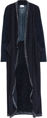 Camilla Crystal-embellished Printed Jersey-paneled Silk Crepe De Chine Kimono