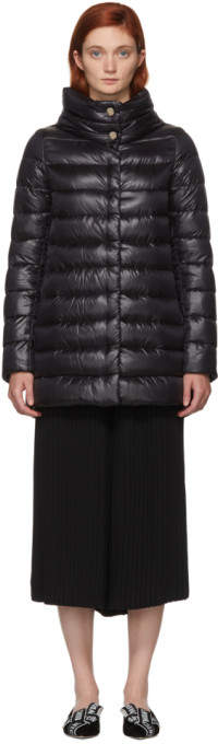 Herno Black Classic High-Low A-Line Nylon Down Coat