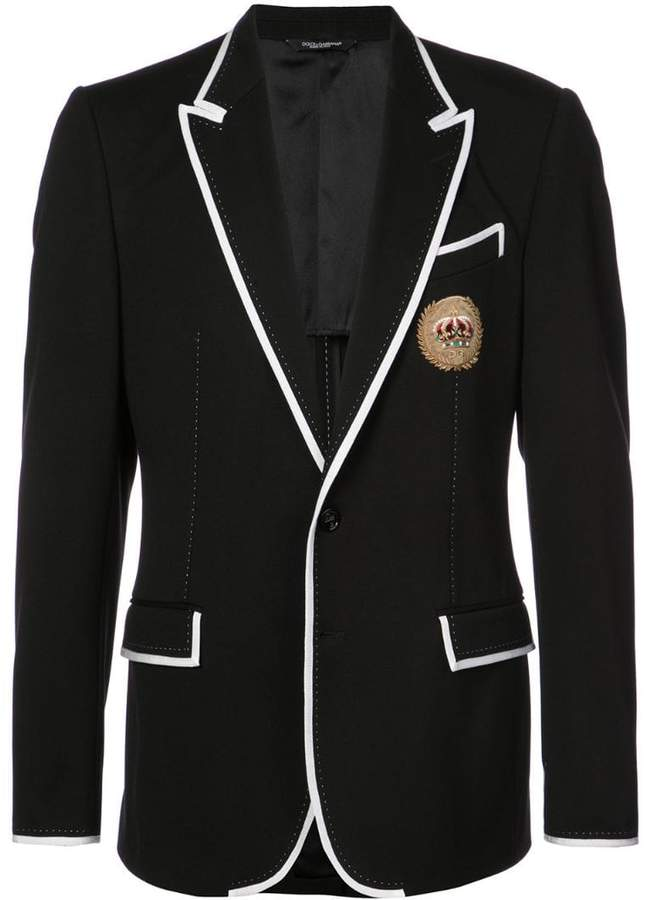 Dolce & Gabbana contrast piping blazer