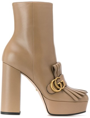 Gucci Fringed Platform Ankle Boots