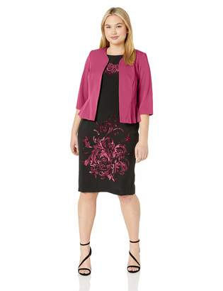 Maya Brooke Women's Plus Size Side Pleated Jacket with Abstract Print Dress