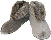 Dearfoams Women's Velour Booty Slipper with Cuff and Memory Foam, Xlarge