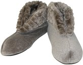 Dearfoams Women's Velour Booty Slipper with Cuff and Memory Foam