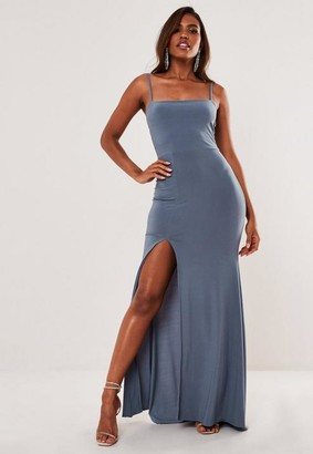 Missguided Blue Slinky Square Neck Side Split Maxi Dress