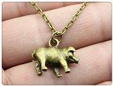 Nobrand No brand vintage antique silver bronze plated 17*20mm 3D pig pendant necklace