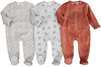 La Redoute Collections Pack of 3 Sleepsuits in Velour, Birth-3 Years