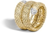 John Hardy Classic Chain 18K Gold Diamond Pave Double Coil Ring