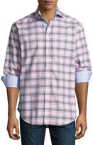 Thomas Dean Plaid Long-Sleeve Sport Shirt, Pink