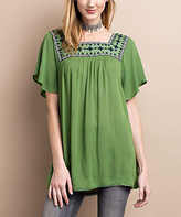 Jane Green Tea Embroidered Square Neck Top
