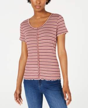 PINK ROSE Juniors' Button-Front Top