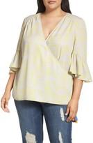 Melissa McCarthy Plus Size Women's Bell Sleeve Wrap Blouse