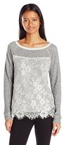 Jolt Women's French Terry Sweatshirt with Front Lace Overlay