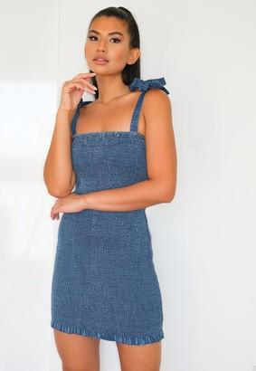 Missguided Tall Blue Shirred Tie Strap Denim Mini Dress