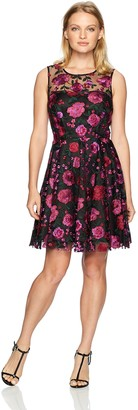 Tahari by Arthur S. Levine Women's Petite Size Sleeveless Dress with Floral Embroidery