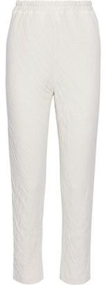 Mansur Gavriel Crinkled Cotton-jersey Slim-leg Pants