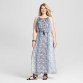 Studio One Women's Plus Size Mixed Print Maxi Dress Blue