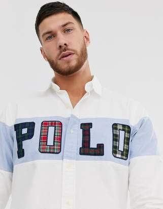 Polo Ralph Lauren custom fit shirt in white with chest polo logo panel