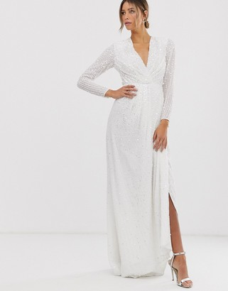 Asos Edition EDITION pleated plunge wrap wedding dress in sequin-White