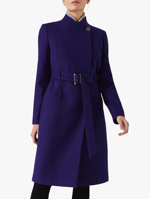 Phase Eight Susie Stand Up Collar Coat, Purple