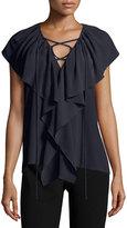 Derek Lam Cap-Sleeve Tie-Front Blouse, Navy