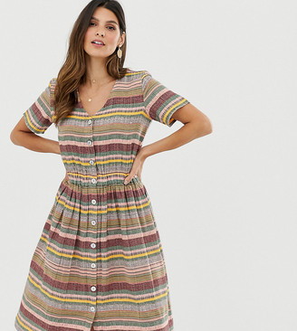 Esprit striped V-neck midi shirt dress-Multi