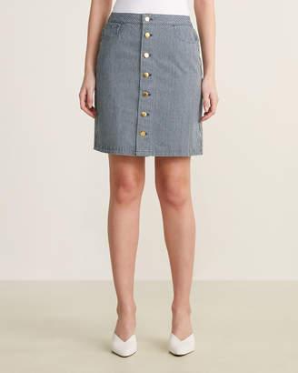 Le Mont St Michel Striped A-Line Button Skirt