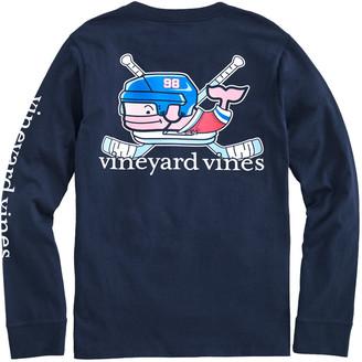 Vineyard Vines Kids' Crossed Hockey Sticks Whale Long-Sleeve Pocket Tee