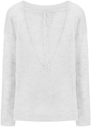 You By Tokarska Fog Blouse With A Neckline At The Back Light Grey