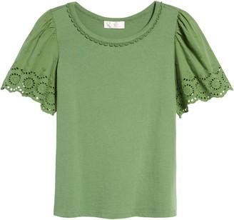 Rachel Parcell Eyelet Flutter Sleeve T-Shirt