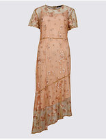 M&S Collection Embroidered Short Sleeve Midi Dress