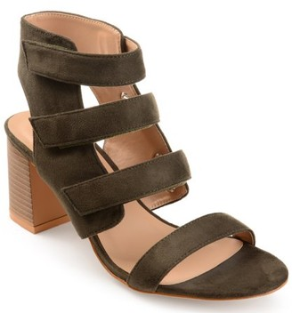 Brinley Co. Womens Caged Faux Suede Cut-out Heel Strappy Sandals