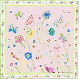 Stupell Industries The Kids Room by Stupell Green Floral with Butterflies and Pink Border Square Wall Plaque