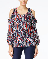 NY Collection Printed Ruffled Cold-Shoulder Top