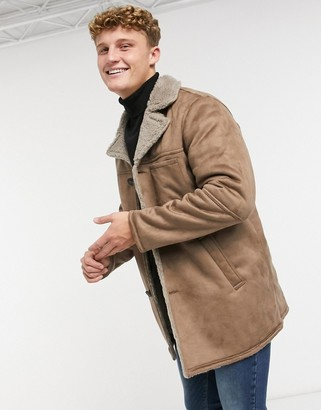ONLY & SONS faux-suede coat with sherpa lining