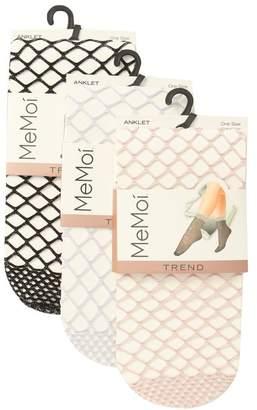 Me Moi MEMOI All Net Glitter Anklet Socks - Pack of 3