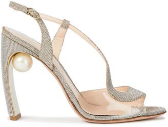 Nicholas Kirkwood Faux Pearl-embellished Pvc And Lame Slingback Sandals