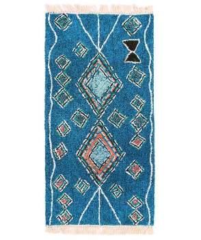 Gall' Art Deco - Blue Wool Duck Carpet with Berber - blue - Blue/Blue