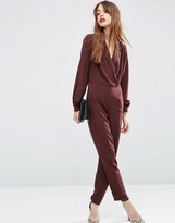 Asos Long Sleeve Jumpsuit with Collar and Wrap Front