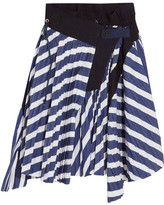 Sacai Cole Asymmetric Pleated Striped Cotton Skirt - Navy