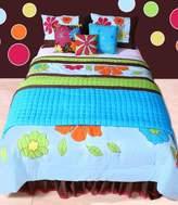 Bacati Valley of Flowers Aqua Twin Comforter Set