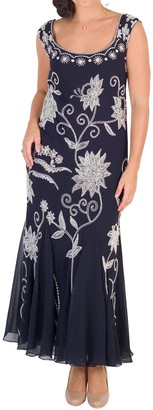 Chesca Embroidered Beaded Dress, Navy/Ivory