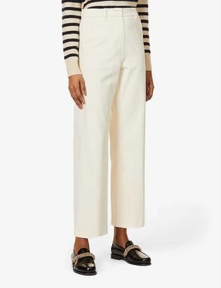 S Max Mara Sesto wide-leg mid-rise stretch-cotton trousers