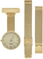 Mother of Pearl Bermuda Watch Company Annie Apple Empress Interchangeable Gold Mesh Wrist To Nurse Watch