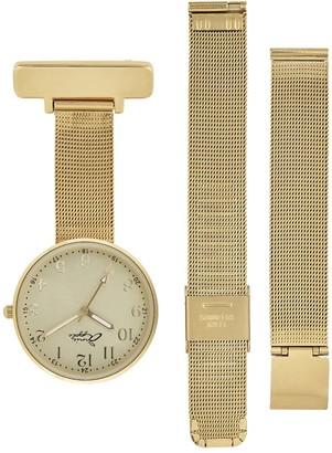 Bermuda Watch Company Annie Apple Empress Interchangeable Mother Of Pearl - Gold Mesh Wrist To Nurse Watch